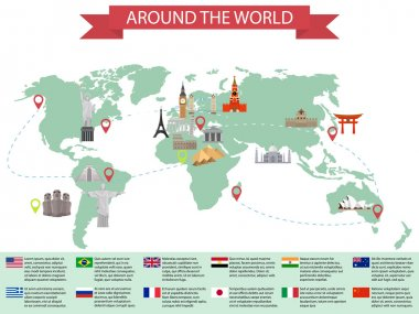 Infographic world landmarks on map. Kremlin and Eiffel and Leaning tower, China and Japan and India. Vector illustration