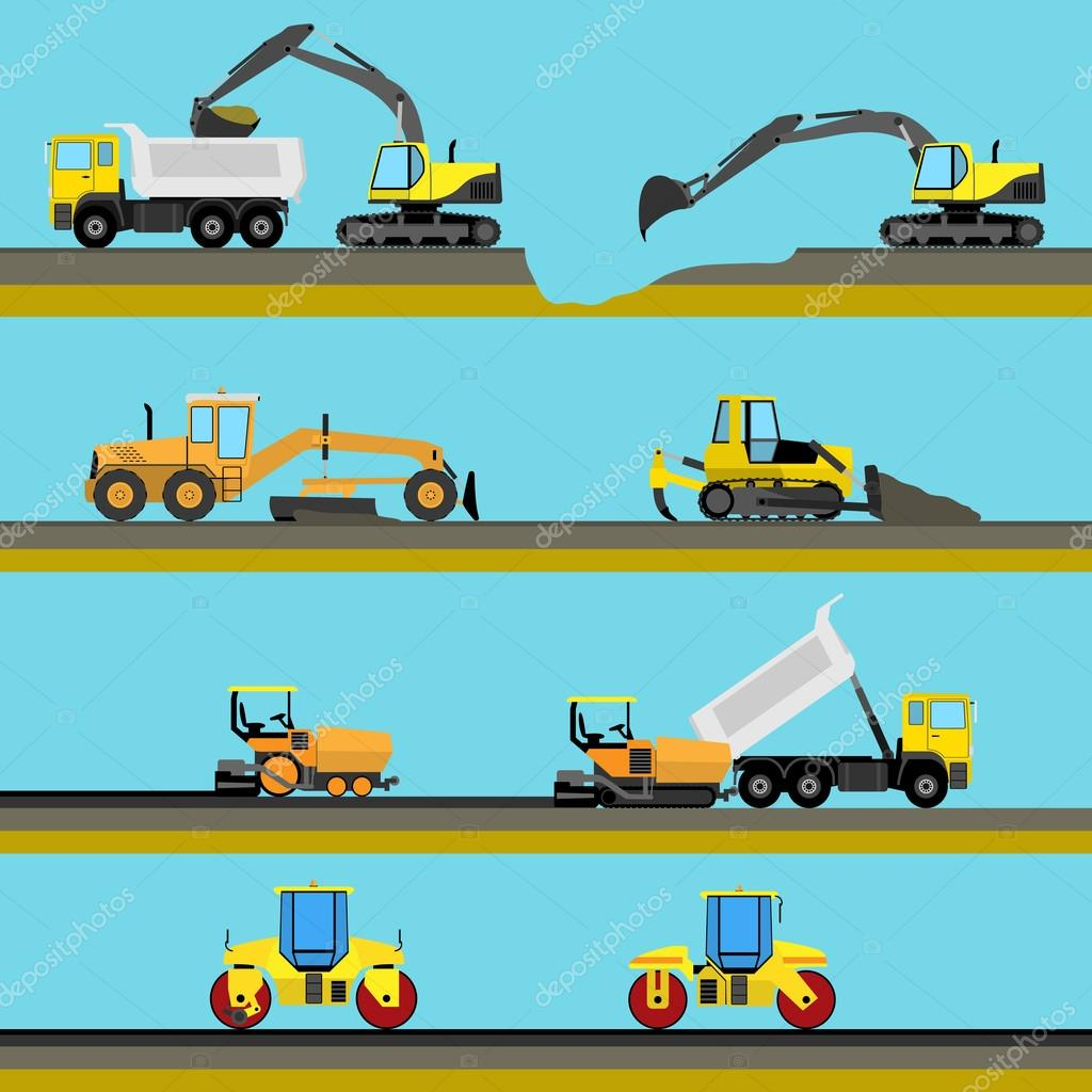 Set Of Seamless Horizontal Road Construction Background With Equipment Icons Vector Illustration Stock