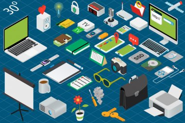 Big set of isometric volumetric of icons on a theme of computer technology and office equipment. clip art vector