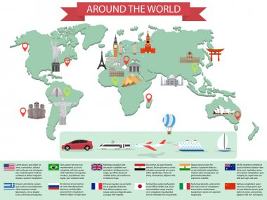 Infographic world landmarks on map