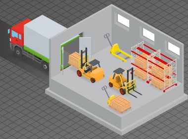 loading and unloading of goods in a warehouse using forklift.