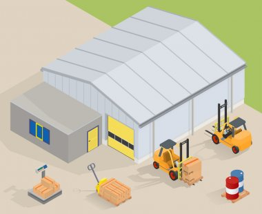 Big warehouse with office. Near forklifts, pallet truck, scales and barrels