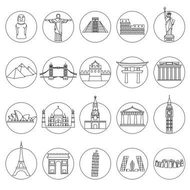 Popular travel landmarks icons
