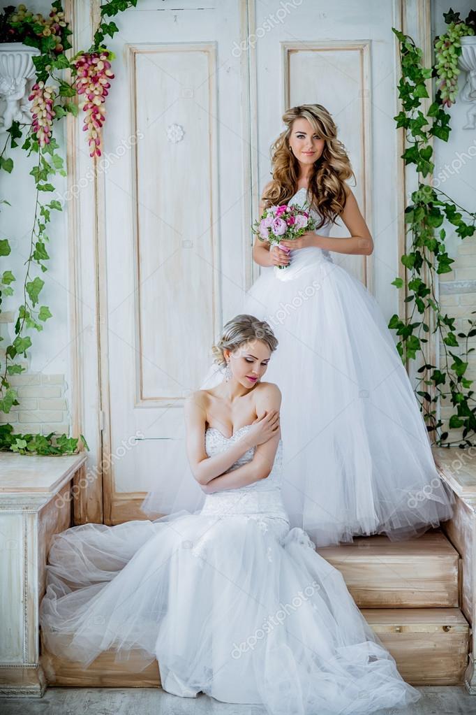 Two Beautiful Brides Having Fun Stock Photo C Bajneva 121455808,Wedding Dresses For Men And Women