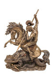Photo Figurine a warrior on horseback fighting the dragon