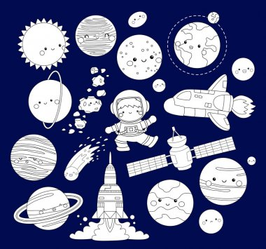 a vector of the solar system in the galaxy in black and white colour
