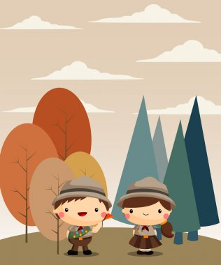 Boy and Girl Scouts at the forest