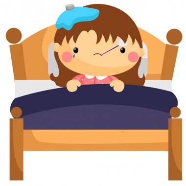 Sick Girl in Bed clip art vector