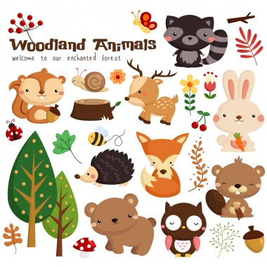 Woodland Vector Set stock vector