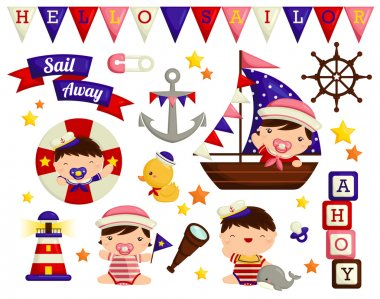 Nautical Baby Vector Set