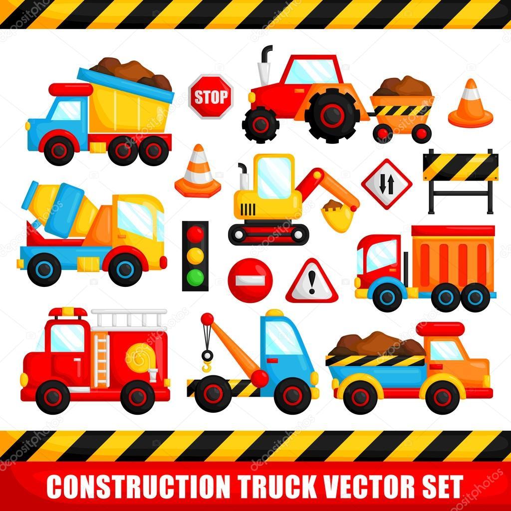 Construction Truck Vector Set