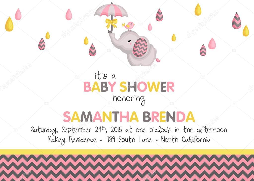 Girl Elephant Baby Shower Invitation Stock Vector C Comodo777