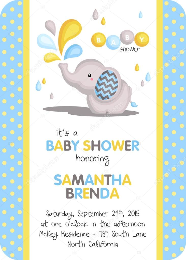 Boy Elephant Baby Shower Invitation Stock Vector C Comodo777 85442380