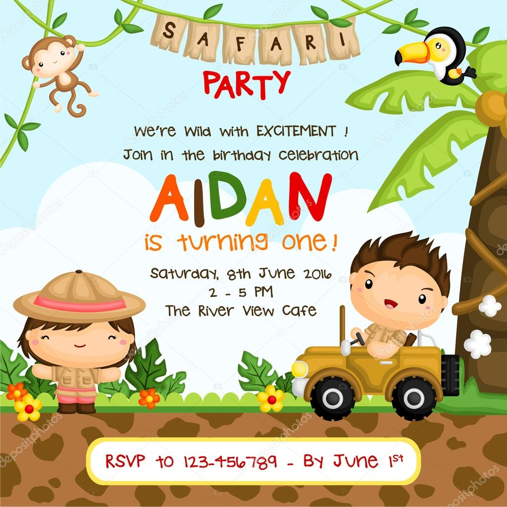 Safari Invitation Safari Birthday Invitation Stock