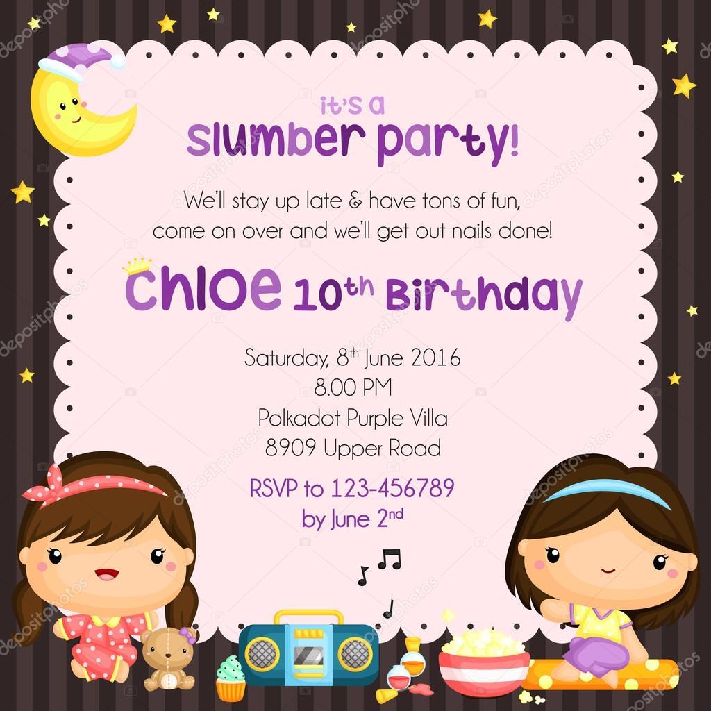 carte d invitation anniversaire soirée pyjama image vectorielle