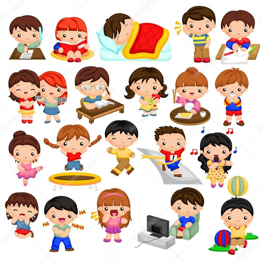 Dagelijkse activiteiten kinderen — Stockvector © comodo777 ...
