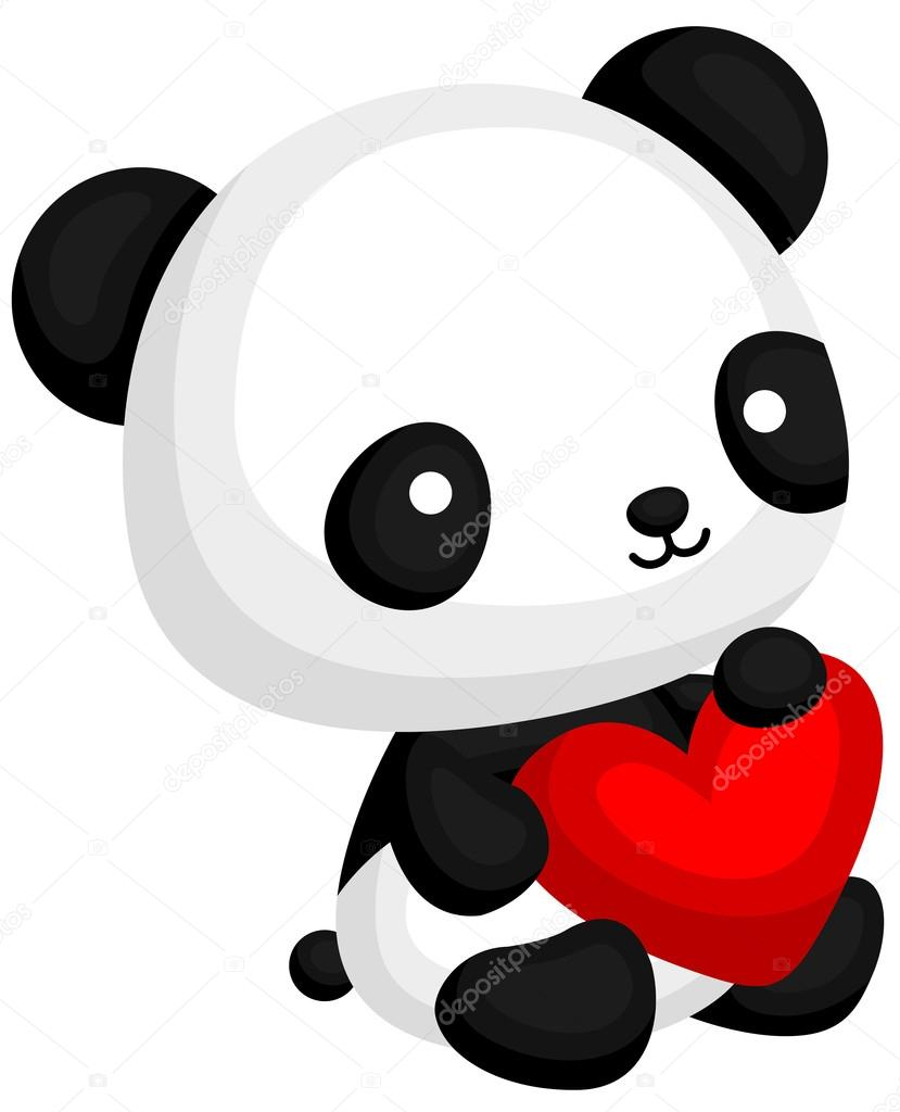 panda mignon avec coeur oreiller image vectorielle comodo777 98392632. Black Bedroom Furniture Sets. Home Design Ideas