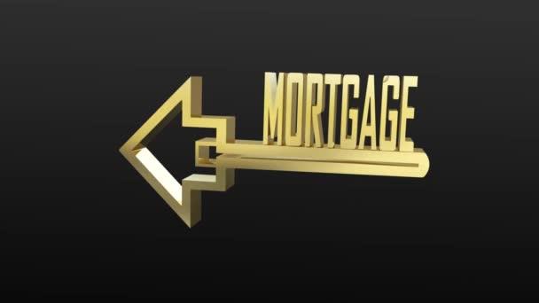 Chiave di forma di casa con la parola di mutui