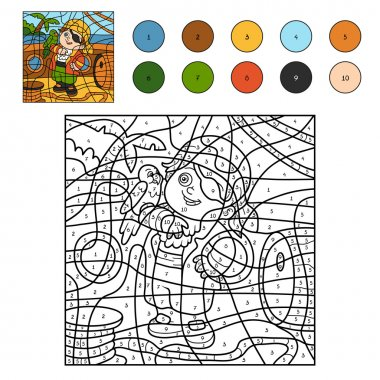 Color by number for children (pirate boy and parrot)