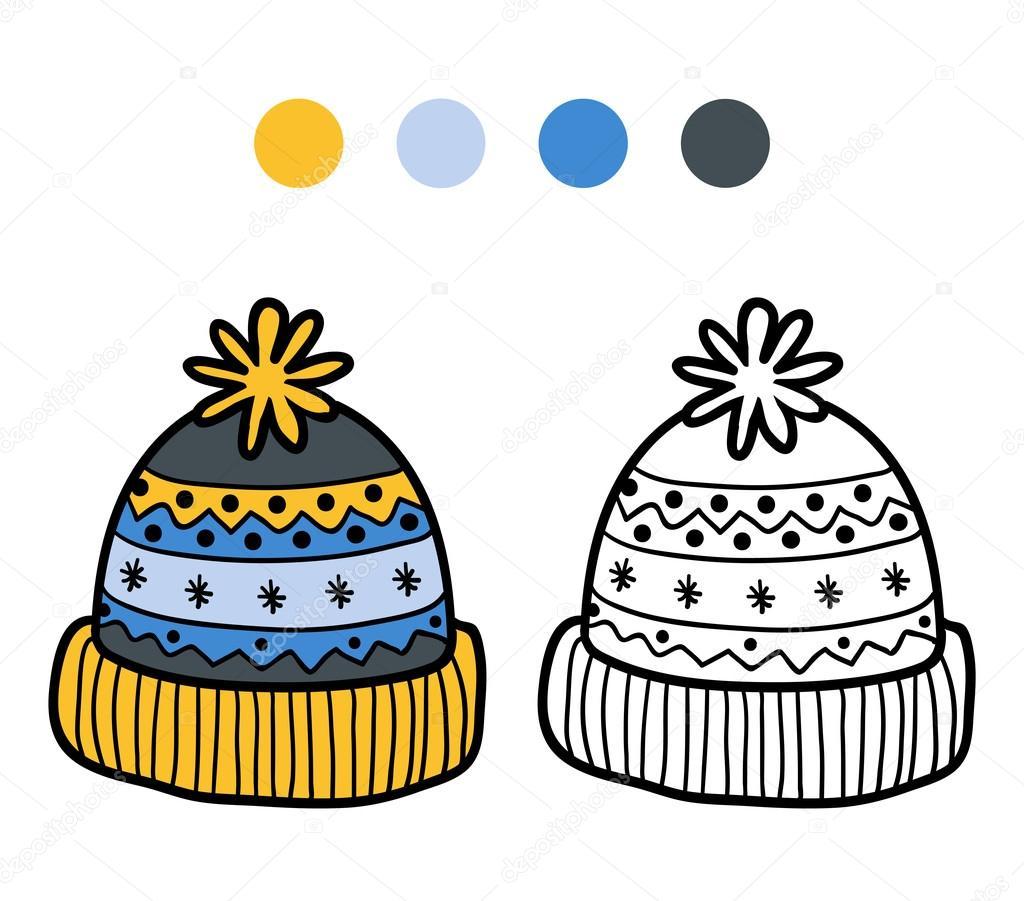 çocuklar Için Boyama Kitabı Kış şapka örme Stok Vektör