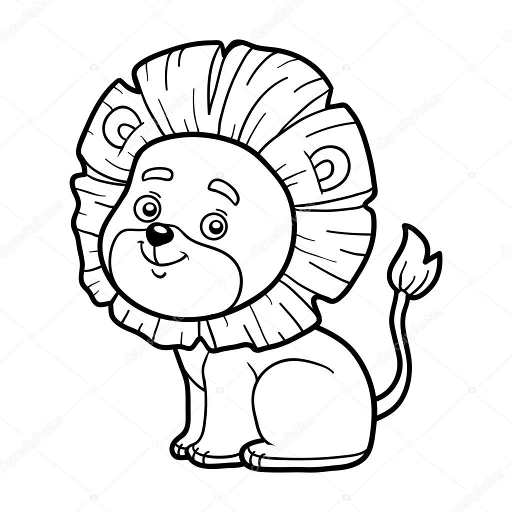 Coloring Book For Children Little Lion Stock Vector