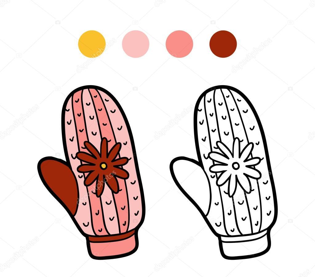 Cahier De Coloriage Pour Les Enfants Tricot Moufle Avec Fleur