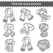 Fotografia Trovare due stesse immagini, set di sciarpe a maglia