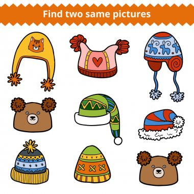 Find two same pictures, set of knitted hats