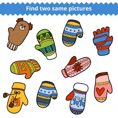 Find two same pictures, set of knitted mittens