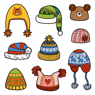 Vector set of different winter hats with animals and geometric pattern