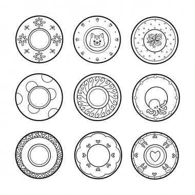 Vector black and white set of plates with various patterns. Nine cute plates with animals and geometric ornaments clip art vector