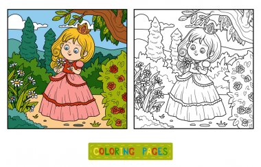 Coloring book, little princess with a flower in the garden