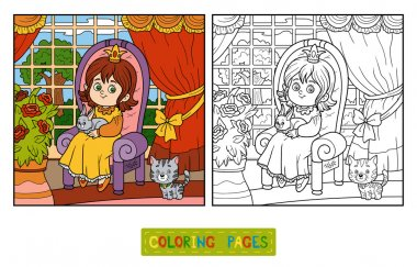 Coloring book for children. Little princess sitting on a throne