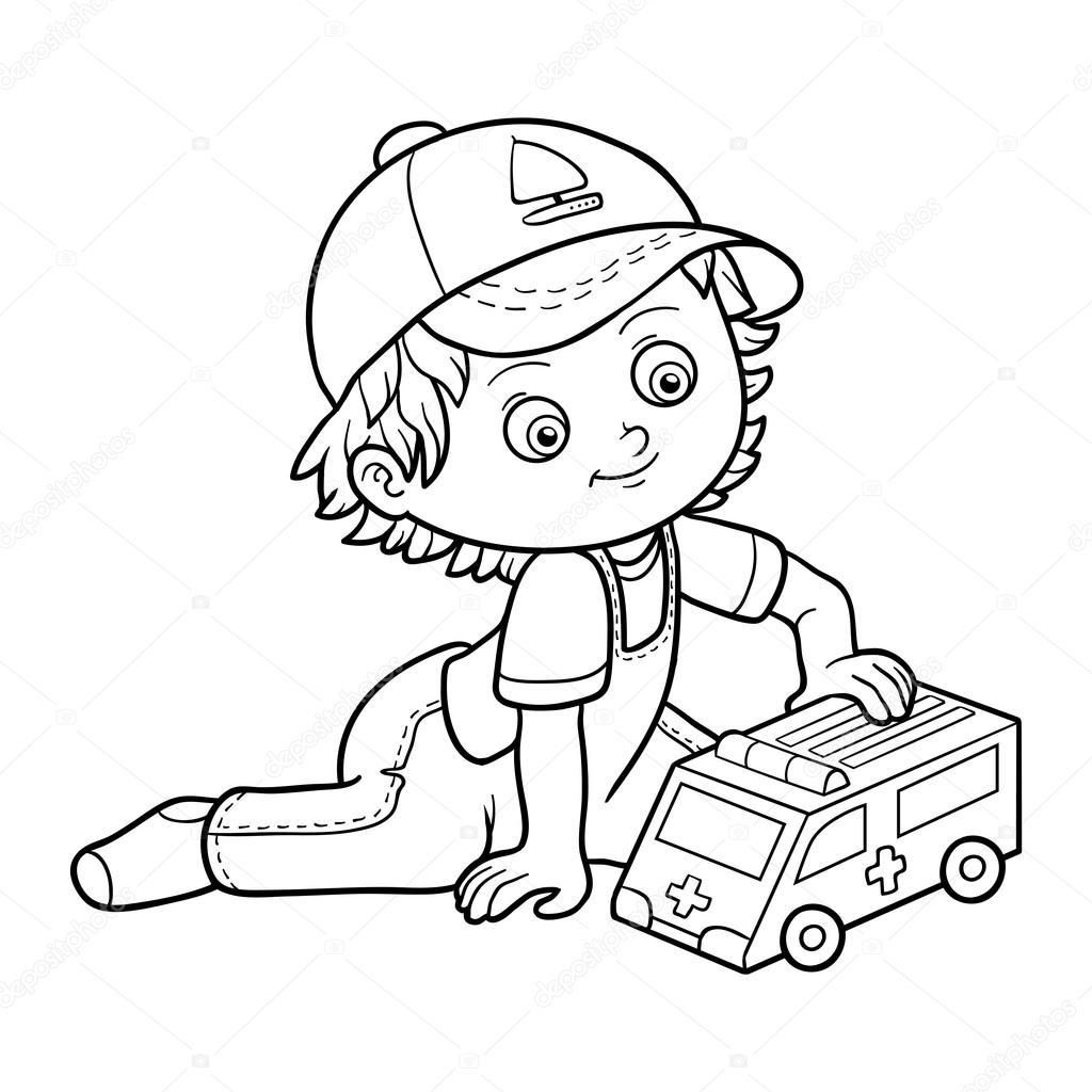 Livre de coloriage petit gar on joue avec voiture - Dessin pour garcon ...