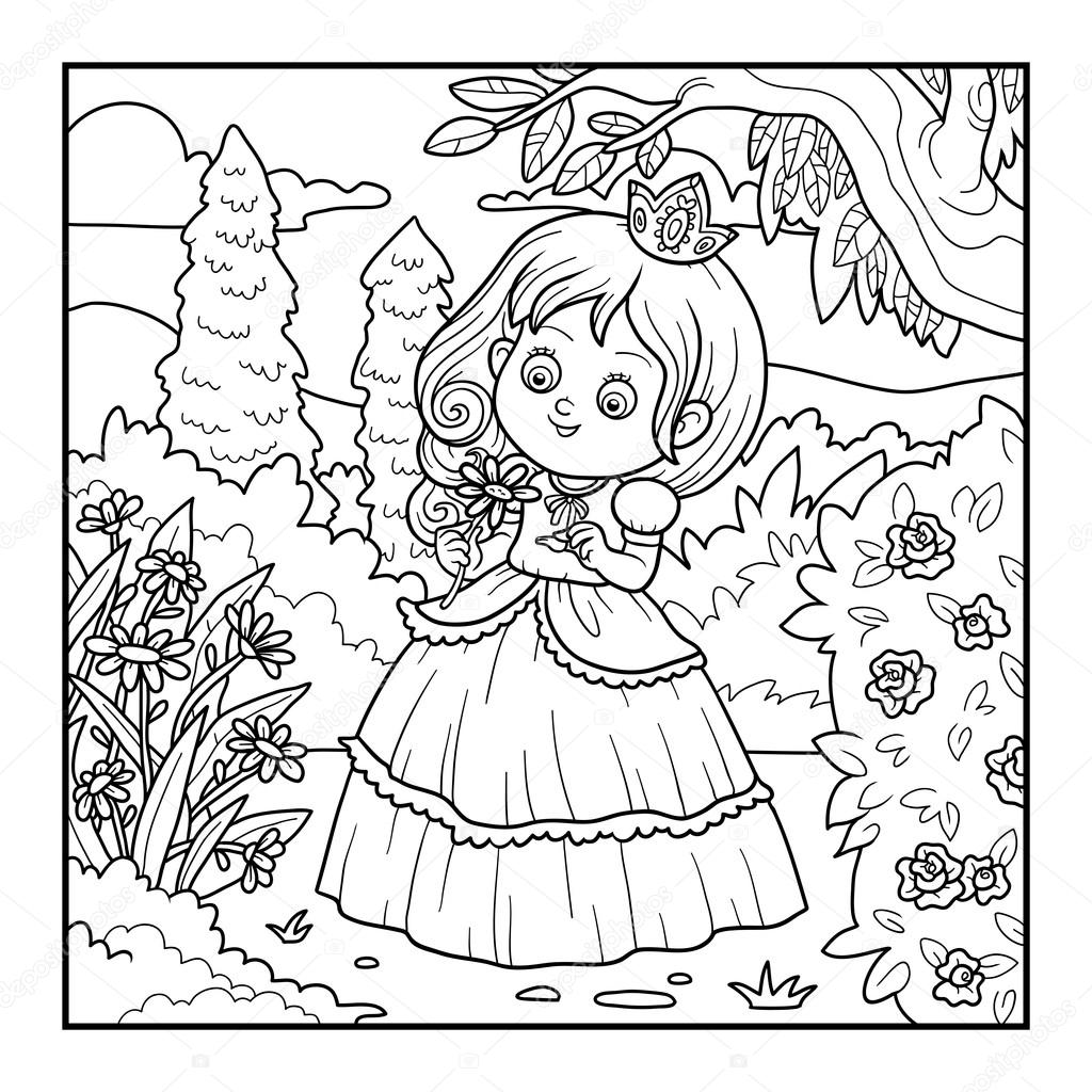 Coloring Book For Children Little Princess With A Flower In The Garden Vector By Ksenya Savva