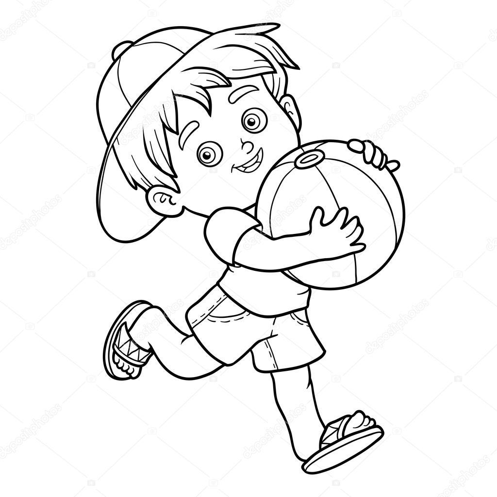 Livre de coloriage pour les enfants Petit gar§on avec le ballon — Image vectorielle