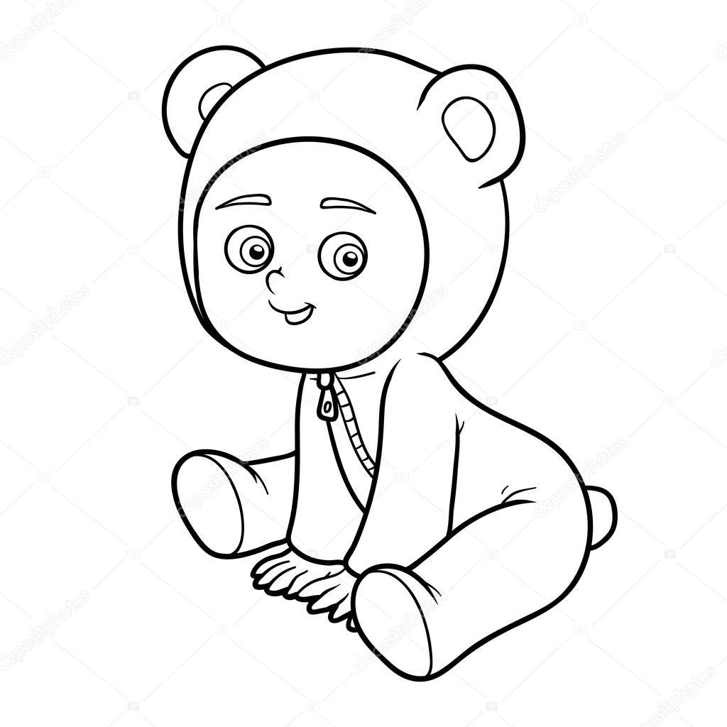Libro de colorear. Niño en un traje de oso — Archivo Imágenes ...