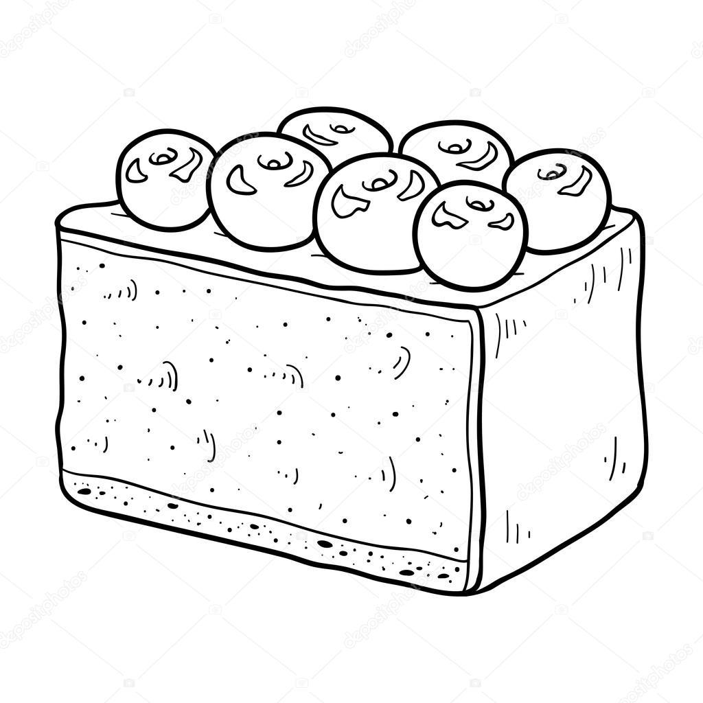 Boyama Kitabı Vektör Peynirli Kek Kiraz çilek Ile Stok Vektör