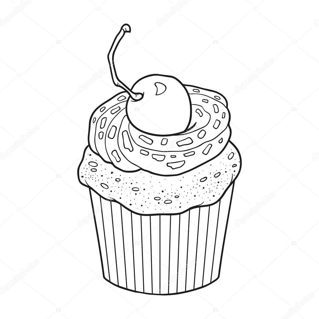 Cahier de coloriage pour les enfants vector cupcake avec cerise berr — Vector by ksenya savva