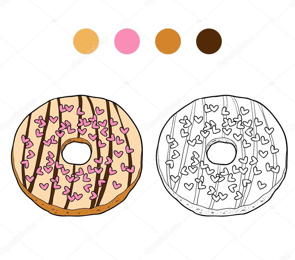 Kleurplaat Boek Voor Kinderen Vector Donut Stockvector