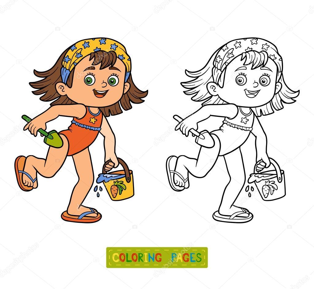 Malbuch für Kinder. Kleines Mädchen am Strand — Stockvektor ...