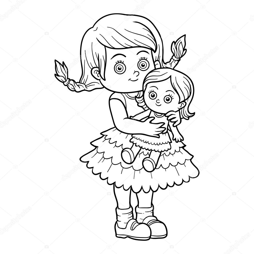 Libro de colorear. Niña con una muñeca — Vector de stock ...