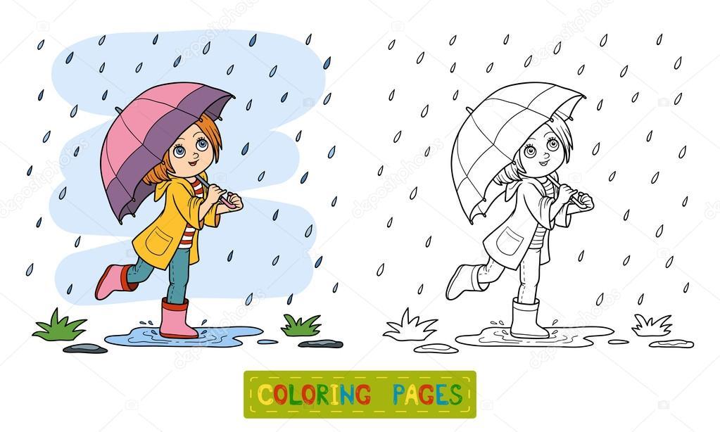 Boyama Kitabı Yağmur Altında Bir şemsiye Ile çalışan Kız Stok