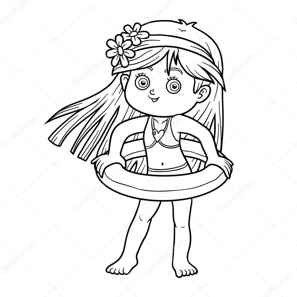 çocuklar Için Boyama Kitabı Sahilde Küçük Kız Stok Vektör