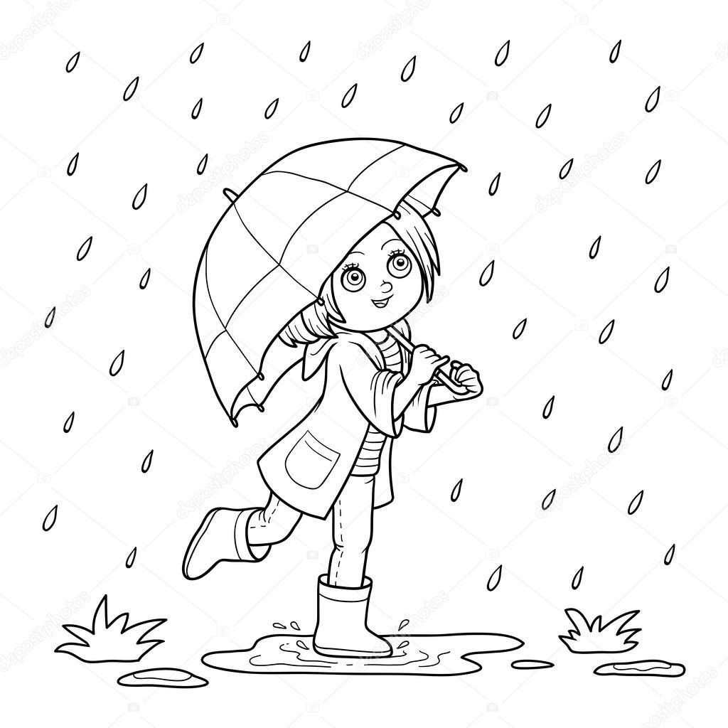 Coloring Book For Children Girl Running With An Umbrella In The Rai Vector By Ksenya Savva