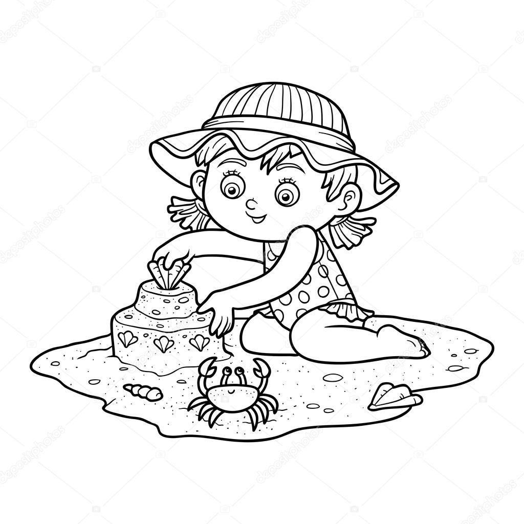 Libro de colorear para los niños. Niña en la playa — Vector de stock ...