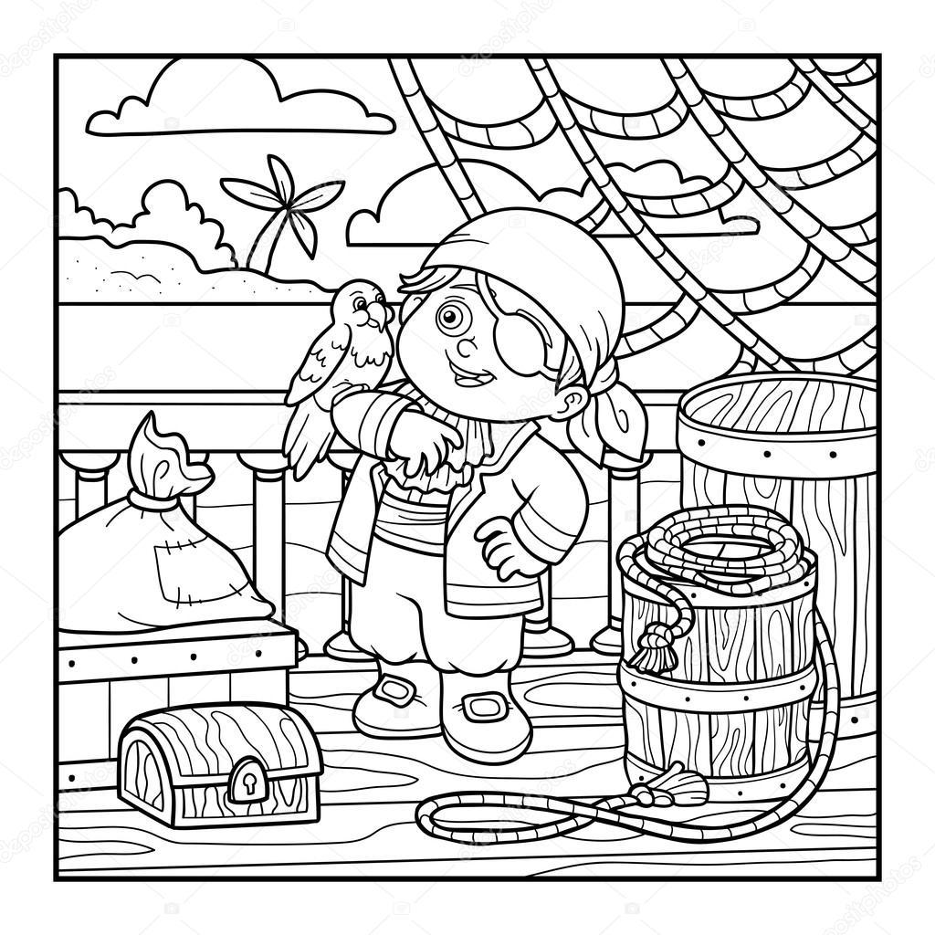 çocuklar Için Boyama Kitabı Korsan Bir Geminin Güvertesinde Stok