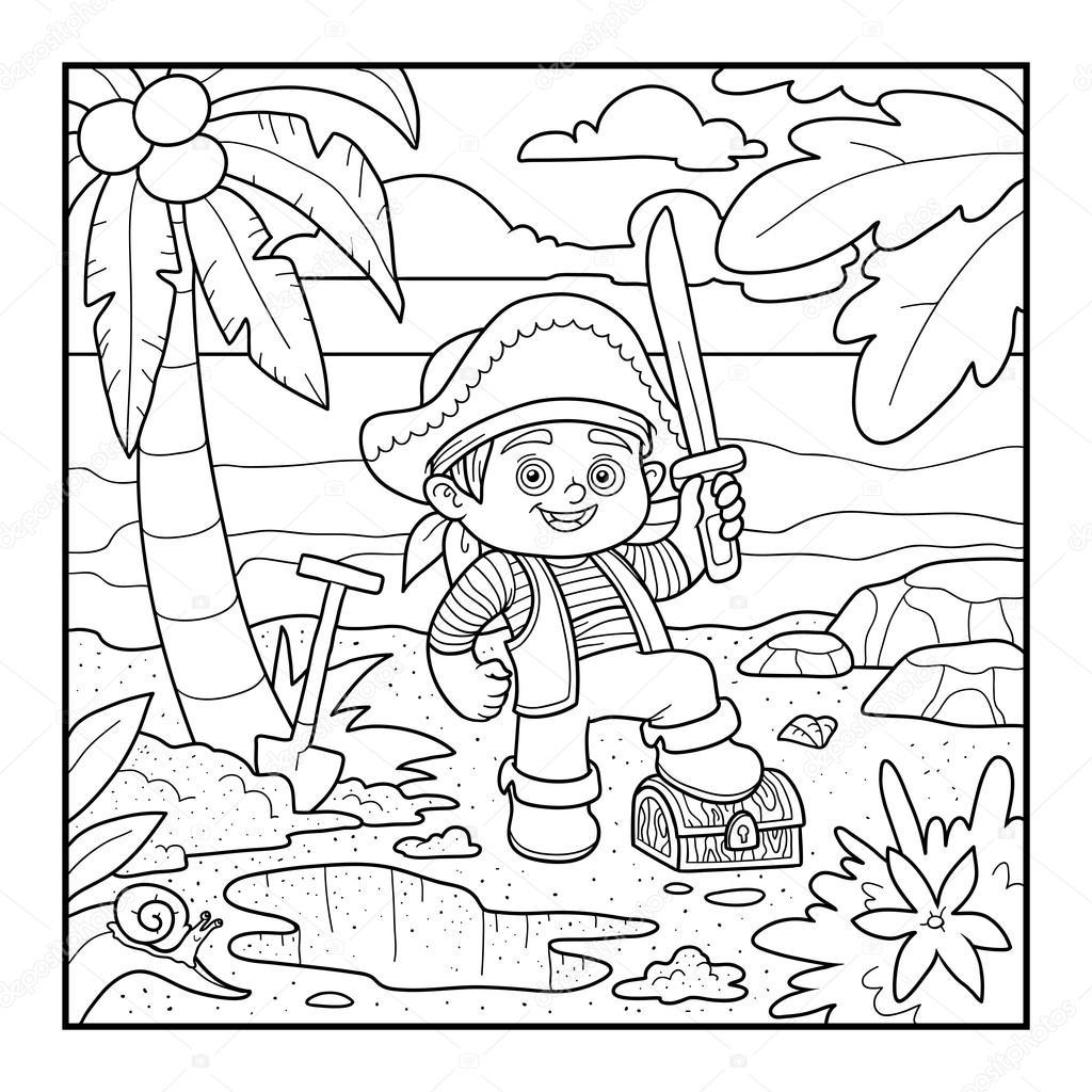 livro de colorir baú pirata e tesouro em uma ilha tropical vetor