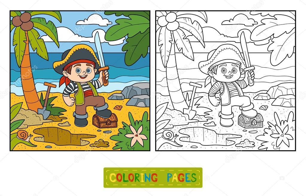 livro de colorir baú pirata e tesouro em uma ilha tropical