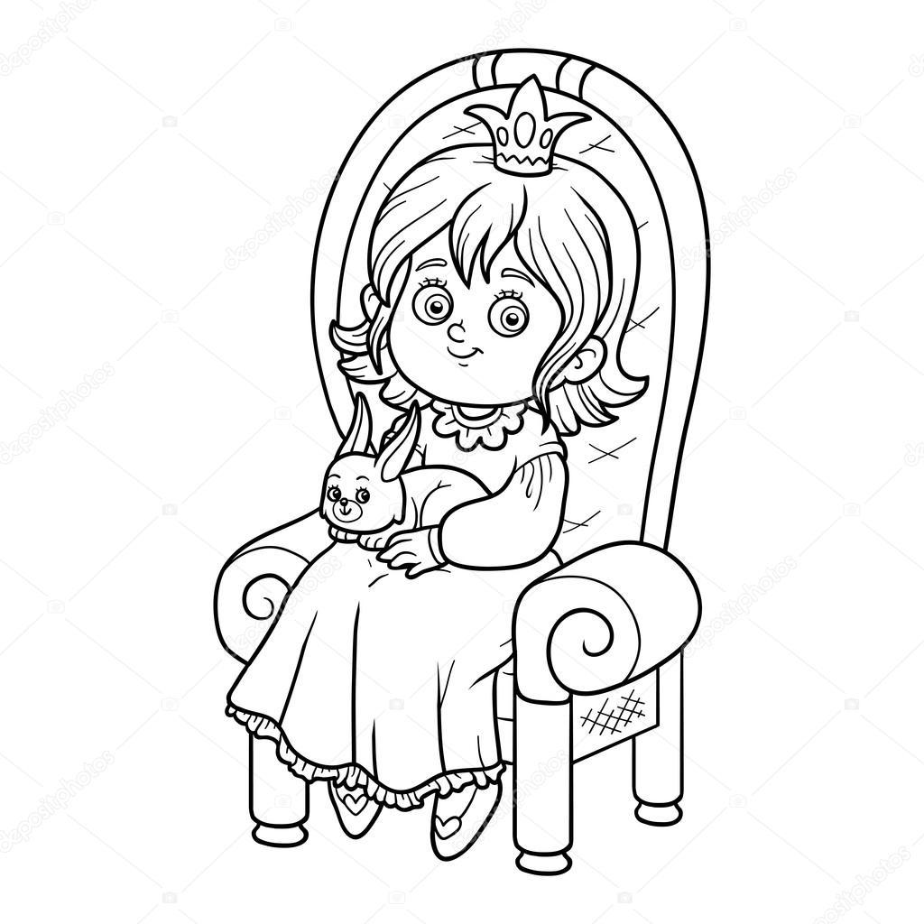 Раскраска принцесса на троне | Книжка-раскраска, принцесса ...